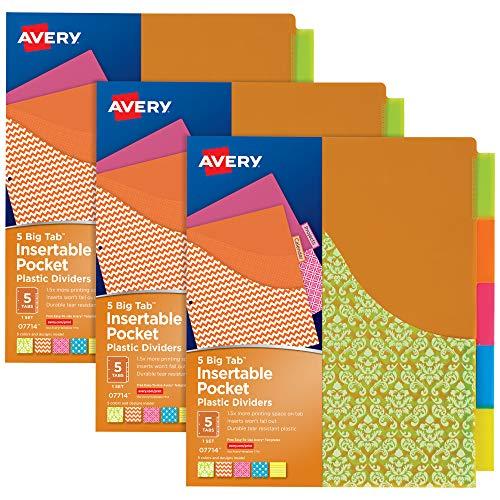 Avery ビッグタブ 挿入可能なポケットディバイダー 3リングバインダー用 5タブセット アソートデザイン 3セット (11255)