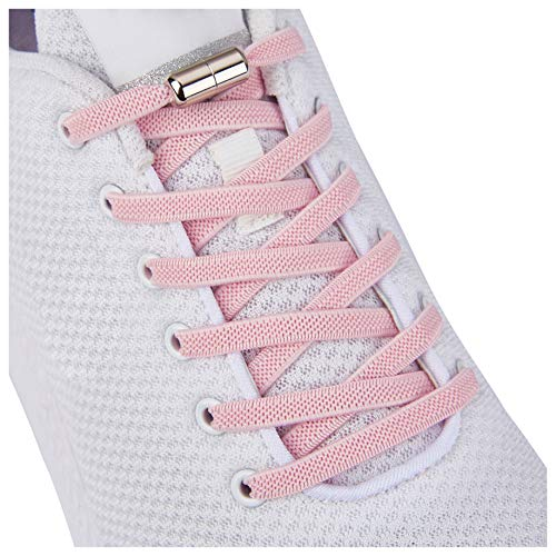 Tieless Elastic Shoe Laces, No Tie Shoelaces for Kids/Adults Pink