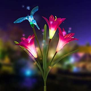 Solar Lights Outdoor, New Version Solar Garden Lights with Lily Flowers, Butterfly & Hummingbird Decorative Lights, Waterproof Multi-Color Changing LED Garden Lights for Yard, Patio (1 Pack,Purple)