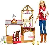 Barbie Métiers coffret Vétérinaire à la ferme avec poupée blonde, 7animaux et 10accessoires, jouet pour enfant, GCK86
