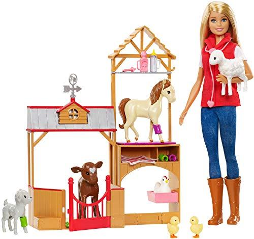 Barbie GCK86 - Spaß auf dem Bauernhof Puppe und Tiere Spielset, Puppen Spiezeug ab 3 Jahren