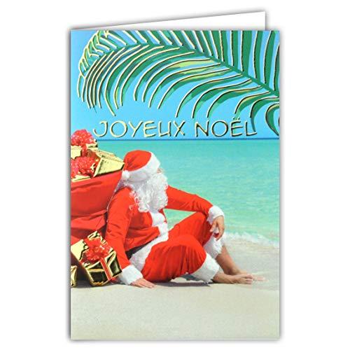 Tarjeta feliz Navidad Papá Noel rojo bolsa campana de regalo playa arena azul turquesa tropical exótica palma