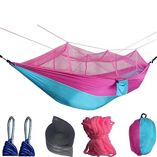 Yajun Camping Hamaca Portátil Mosquitera Jardín al Aire Libre Viaje Columpio Paracaídas Tela Colgar Cama 300 Kg Capacidad de Carga,Pink-Blue