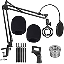 Upgraded Microphone Suspension Stand, Adjustable Boom Scissor Arm Stand with Shock Mount Mic Clip Holder 3/8 to 5/8 Screw Adapter Pop Filter and Foam Windscreens Radio Broadcasting and Recording