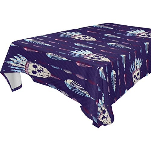 THENAHOME Tischdecke, Boho, Totenkopf, Federn, auslaufsicher, wasserdicht, Stoff Tischdecke für Küche und Esszimmer, Polyester-Mischgewebe, mehrfarbig, 60x108(in)