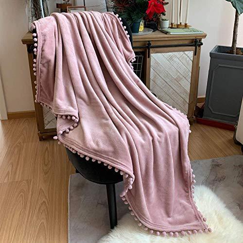 TEALP Manta de Franela con Manta de Siesta con Pompones, cómoda Manta de Cama, Manta Suave para sofá Cama, Adecuada para Todas Las Estaciones (Rosa, 150 x 200 cm)