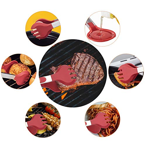 Product Image 6: Tongs for Cooking, SoupStall 4 Kitchen Tongs for Cooking With Heat Resistant Silicone Tip Plus 4 Grill and BBQ Basting Brushes Set, BPA Free Non-Stick Stainless Steel Locking Tongs and Non-Slip Handle