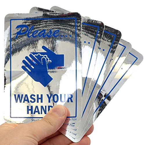 SmartSign Please Wash Your Hands Glass Decals | Pack of 5, 3.5' x 5' Polyester, Mirror Labels