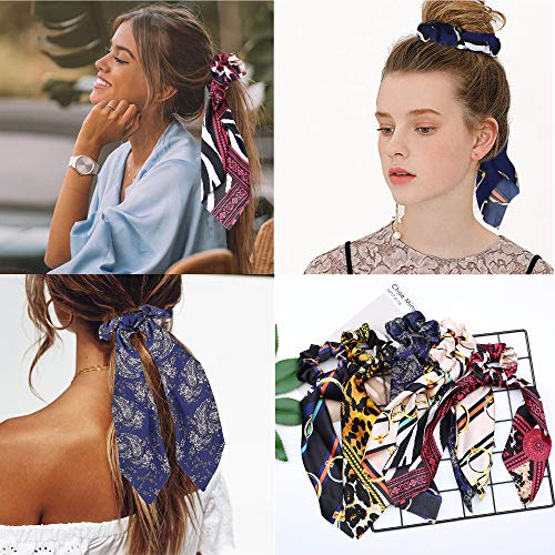 Milacolato 15 Pcs Hair Scarves Hair Ties Scrunchies Chiffon Floral Scrunchie Hair Bow Ties Ponytail Holder Scrunchy 2 in 1 Vintage Accessories for Women