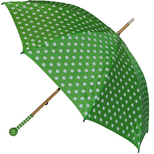 alles-meine.de GmbH 2. Wahl - Schirm grün weiße Punkte - Kinderschirm Kinder Stockschirm Regenschirm - gepunktet Punkt Mädchen 90 cm