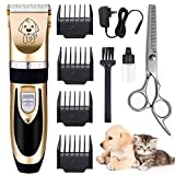 ANTOPM Dog Clippers Kit for Grooming - Rechargeable Pet Trimmer Professional Quiet Hair Clippers with Comb Guides for Small Medium Larger Dogs