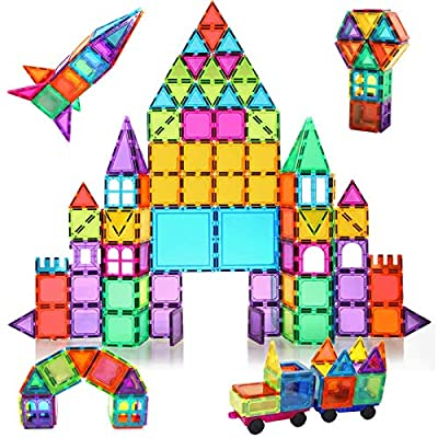 BMAG 120 PCS Magnetic Building Blocks, 3D Magnet Building Tiles, STEM Construction Building Set, Stacking Toys with 2 Car from BMAG