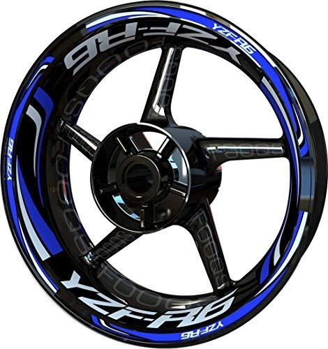 Motocicleta Moto Llanta Inner Rim Tape Decal Pegatinas F2 para Yamaha YZF R6 YZFR6 YZF-R6 (Azul 2)