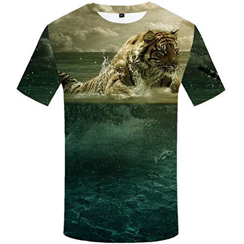 YAMAO Rundhals T- Shirt Homme,Sport, T-Shirt Tigre 3dt Chemise à Manches Courtes Grande Taille Animal col Rond vêtements décontractés pour Hommes