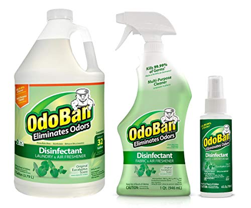 OdoBan Multipurpose Cleaner, 1 Gallon Concentrate, 32oz Ready-to-Use and 4oz Travel Spray, Eucalyptus Scent, Odor Eliminator, Disinfectant, Flood Fire Water Damage Restoration