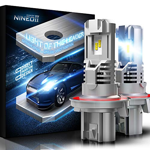 NINEO Wireless H13 LED Headlight Bulbs w/Mini Design | 100% Direct Insertion | 9008 All-in-One Conversion Kit ZES Chips 10000LM 6500K Cool White