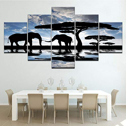 Xzfddn The African Elephant Walking Modern Modular 5 Panel Hd Print Wall Poster Canvas Art Painting for Living Room Home Decor