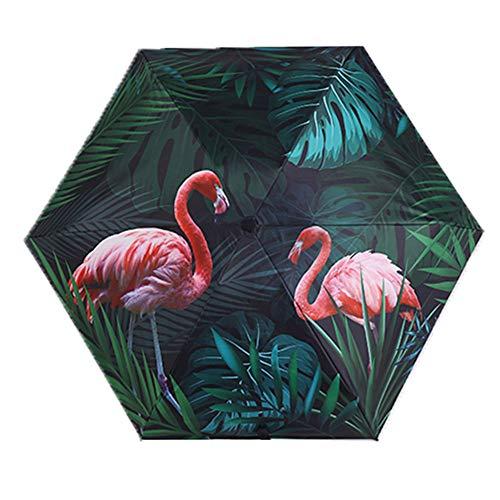 WASD Umbrella Folding Flamingo Mini Five Fold Taschenschirm Sonnenschirm Sonnenschutz UV Regenschirm Outdoor Travel,small