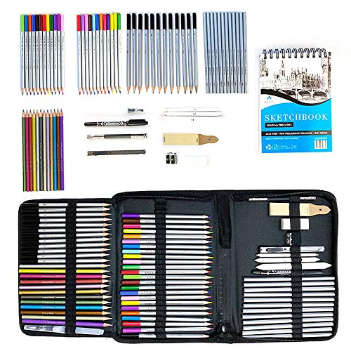 Bellofy Sketching Drawing Kit Set 72-Piece and 100 Sheet Sketchbook   Art Supplies for Adults, Teens, Kids   Watercolor & Graphite Drawing Coloring Art Pencils Set   Artist Supplies Drawing Stuff