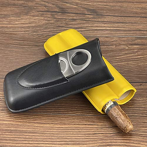Travel Cigar Case for 2 Cigars, Leather Humidor Cigar Case with Stainless Steel Cigar Cutter