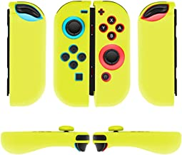TNP Nintendo Switch Joy-Con Grip Gel Guards with Thumb Grips Caps - Protective Case Covers Anti-Slip Ergonomic Lightweight Joy Con Comfort Grip Controller Skin Accessories (1 Pair Yellow)