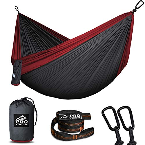 Double Camping Hammocks - Hammock, Premium Straps + Carabiners - Lightweight and Compact Parachute Nylon. Backpacker Approved and Ready for Adventure! 10.5 x 6.5 FT
