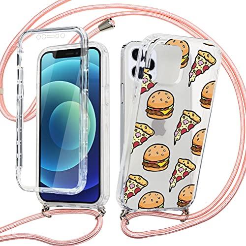 ZhuoFan con Cuerda para Xiaomi Mi 10T Lite 5G / Redmi Note 9 Pro 5G Carcasa Transparente 360 Grados Protectora Antigolpes Delantera Trasera Case Silicona con Colgante Ajustable Collar Correa, Pizza