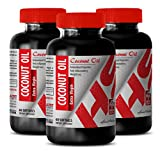 Coconut Oil Pills for Weight Loss - Purified Coconut Oil Extra Virgin 3000 MG - Overweight Control (3 Bottles)