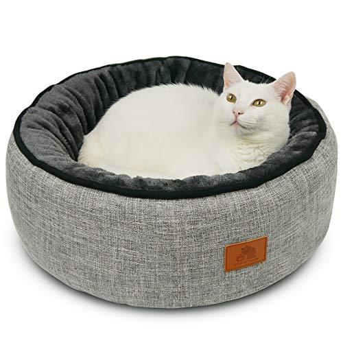 SCHLITZOHR Donut Katzenbett Sissy rund | waschbares Premium Bettchen für Katzen & Hunde in edlem grau | inklusive extra gemütlichem Wendekissen