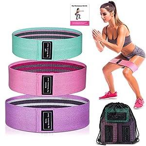LINJIA Bandas Elasticas Gluteos, 3 Bandas Elásticas Musculacion con 3 Niveles, Banda Elastica Fitness, para Piernas y Glúteos, Pilates,Yoga,Fuerza,Fisioterapia,Estiramientos
