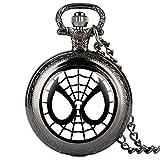 Reloj de bolsillo de cadena fina para niños, diseño de Spider-Man, reloj de bolsillo de cuarzo para estudiantes, reloj de bolsillo digital arábigo para adolescentes