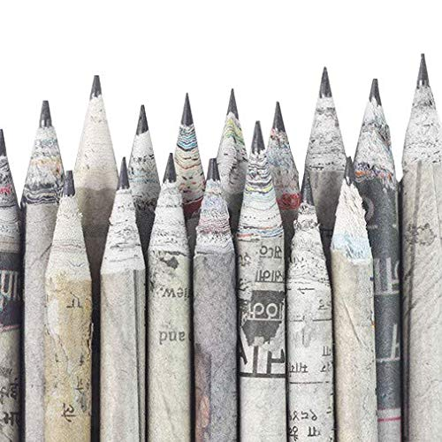 Goodwill Tech™ Recycled Newspaper Pencils Eco-Friendly for Kids School | Writing, Sketching, Drawing Pack of 50