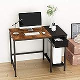 JOISCOPE Bureau d'ordinateur, Bureau avec tiroirs Doubles, étagères, Table d'étude, 40 Pouces (Finition chêne Vintage)