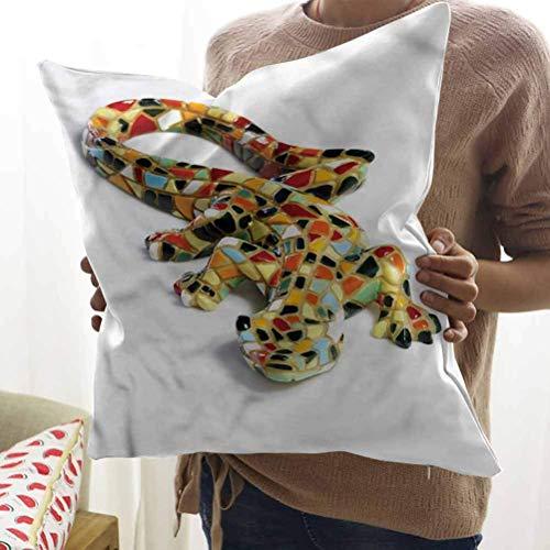 N\A Esculturas Square Throw Pillow Miniatura Gaudi Lizard Funda de Almohada para Sala de Estar