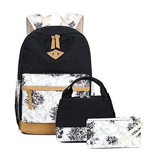 Goodking Lightweight Canvas Backpack for Women College Bookbag Travel Daypack 15.6