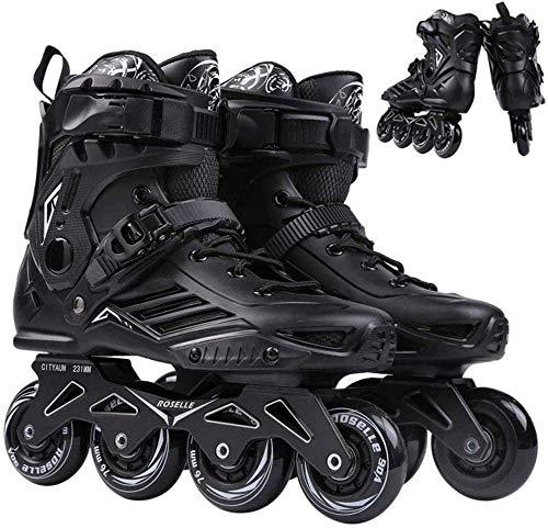 GUOXY Inline-Skates für einreihige Rollschuhe für Erwachsene, professionelle Inline-Eisschnelllaufschuhe, Anfängersport im Freien Fitness für Rollschuhe für Männer und Frauen,Schwarz,43