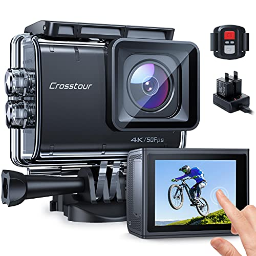 Action Camera Native 4K 50FPS 20MP Touch Screen 131Feet Underwater Camcorder CT9700 with Advanced EIS, Remote Control, Wi-Fi, LDC, 2x1350mAh Batteries and Charger and Mounting Kits