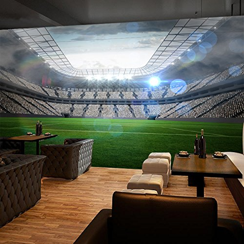 """3D Wide Football Field 9 Wall Paper Wall Print Decal Wall Deco Indoor wall Murals Removable Wall Mural   Self-adhesive Large Wallpaper , AJ WALLPAPER Carly (82""""x58""""(WxH))"""