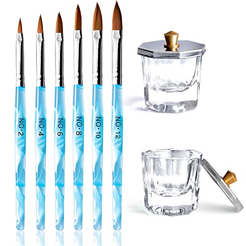 Kalolary Herramientas de Cuidado Manicura incluye 2 Platos Vasos de Cristal de Arte de Uñas y 6 Pinceles de Uñas de Acrílico Gel Diseño 3D para Acrílico Líquido Herramienta de Diseños para Uñas(azul)