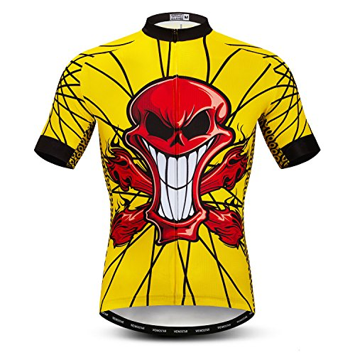 Men's Cycling Jersey Tops Biking Shirts Short Sleeve Bike Clothing Full Zip Bicycle Jacket with Pockets Yellow Red Skull Size L