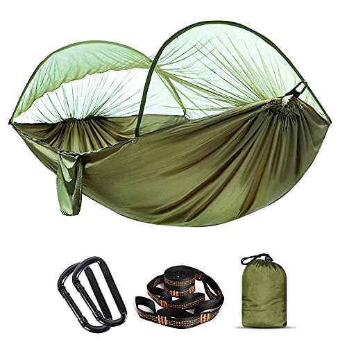 Amaca con zanzariera, portata 300 kg, ad asciugatura rapida, ultraleggera, con 2 moschettoni, 2 nastri resistenti per esterni, campeggio, giardino, verde militare