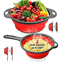 2-Piece Longzon Collapsible Silicone Colanders and Strainers Set