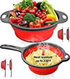 "longzon Collapsible Silicone Colanders and Strainers [2 Piece Set], Diameter Sizes 8'' - 2 Quart and 9.5"" - 3 Quart, Pasta Vegetable/Fruit Kitchen Mesh Strainers with Extendable Handles Red and Grey"