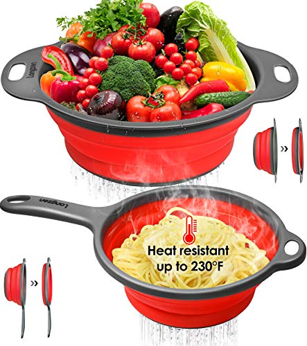 Longzon Collapsible Silicone Colanders and Strainers 2 Piece Set Diameter Sizes 8#039#039  2 Quart and 95quot  3 Quart Pasta Vegetable/Fruit Kitchen Mesh Strainers with Extendable Handles Red and Grey