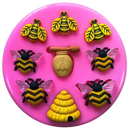 Bee Keeper, miel, Abeille, Ruche, Pot à miel Moule Moule en silicone pour décoration de gâteaux gâteaux en pâte à sucre Fairie Blessings