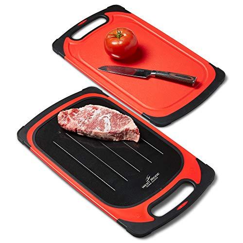 2-in-1 Auftau-Tablett – Schneidebrett – Vorbereitung & Serviertablett – schnelles Auftauen – langlebige Küchenplatte – spülmaschinenfest – Fleisch/Fisch/Gemüse – rot/schwarz
