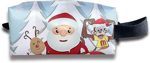 Szipry Cosmetic Bag Travel Handbag Winter Santa Claus Elk Snowman Prints Womens Girls Toiletry Bag Zipper Wallet with Wrist Band