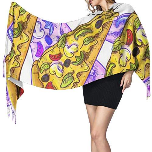 Diseño de pizza Moda para mujer Mantón largo Labios rojos Bufanda de cachemira Invierno Cálido Bufanda grande Caja de regalo