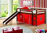 Donco Kids Mission Low Slide Loft Bed Light Espresso/Twin/RED Tent