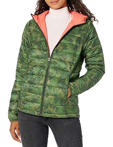 Amazon Essentials Lightweight Water-Resistant Packable Hooded Puffer Jacket Chaqueta Aislante, Verde, Camuflaje, S
